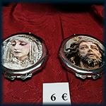 Pastilleros con espejo Cristo y Virgen